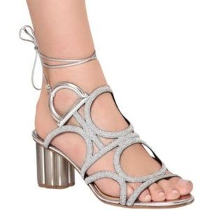 Salvatore Ferragamo Vinci Silver Lace Up Sandals
